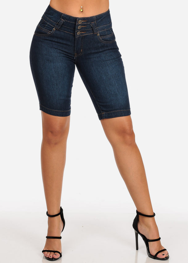 Butt Lifting Dark Wash Bermuda Shorts