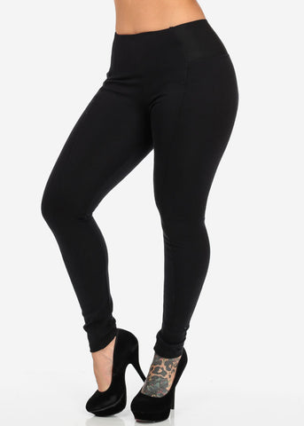 Image of Black High Waist Banded Pants