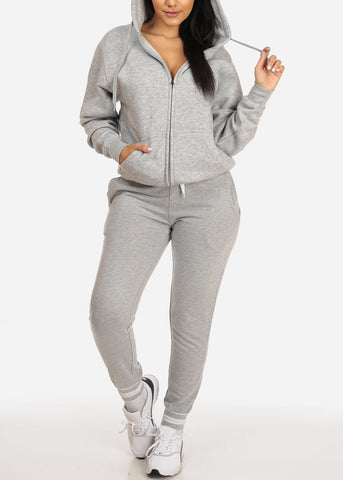 Image of Grey Zip Up Sweatshirt Hoodie