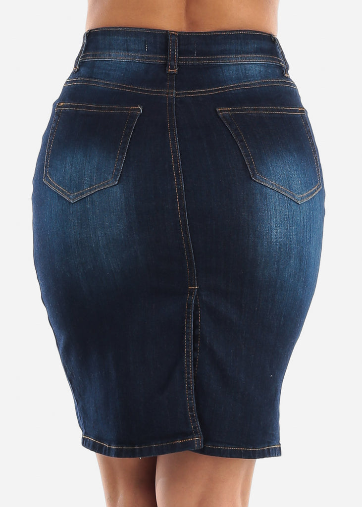 Dark Wash Whisker Denim Mini Skirt