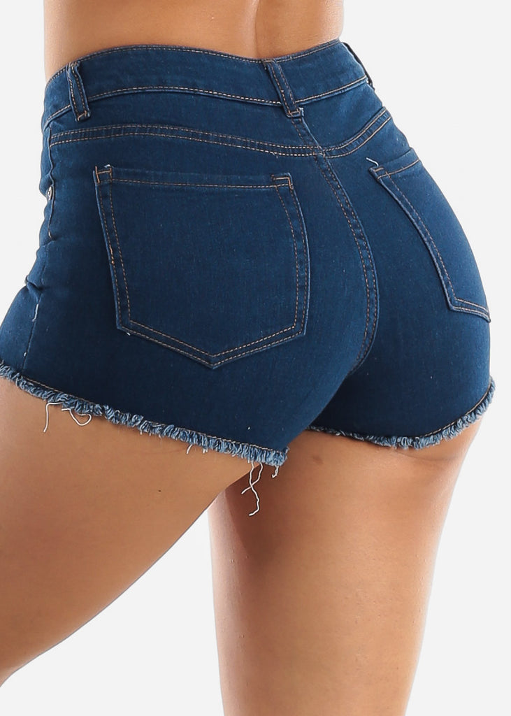 Distressed Med Wash Denim Shorts
