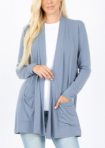 Slouchy Pockets Blue Grey Cardigan
