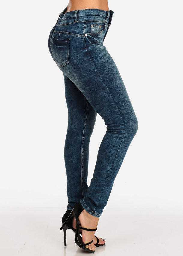 Butt Lifting Marble Wash Dark Skinny Jeans