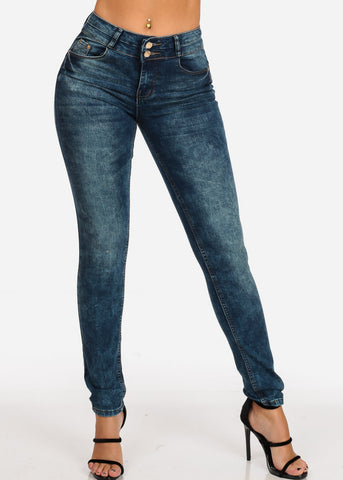 Image of Women's Junior Ladies 2 Button Mid Rise Dark Marble Wash Skinny Jeans With Brown Stitching