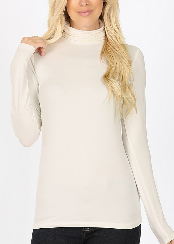 Mock Neck Cream Top