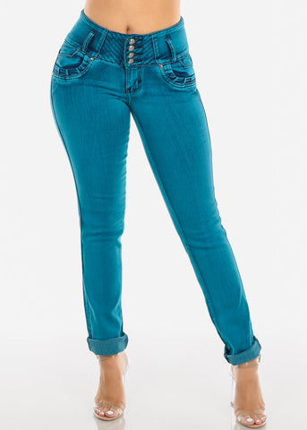 Teal Butt Lifting Skinny Jeans
