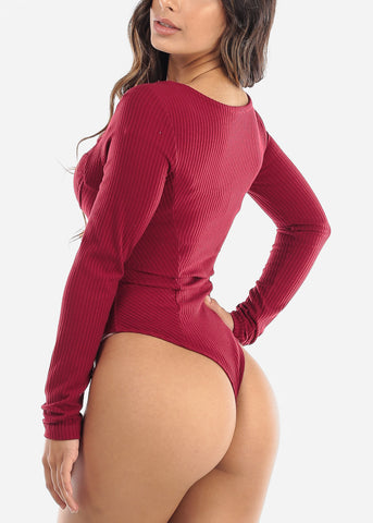 Image of Red Long Sleeve Bustier Bodysuit