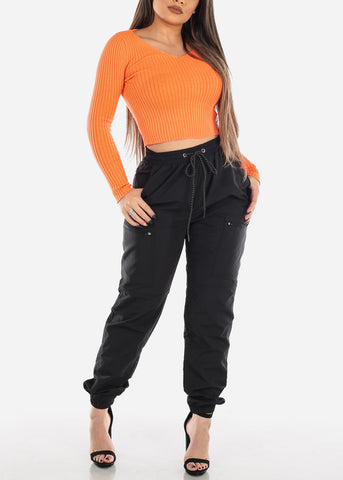 Image of V-Neck Ribbed Sweater Orange