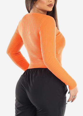 V-Neck Ribbed Sweater Orange