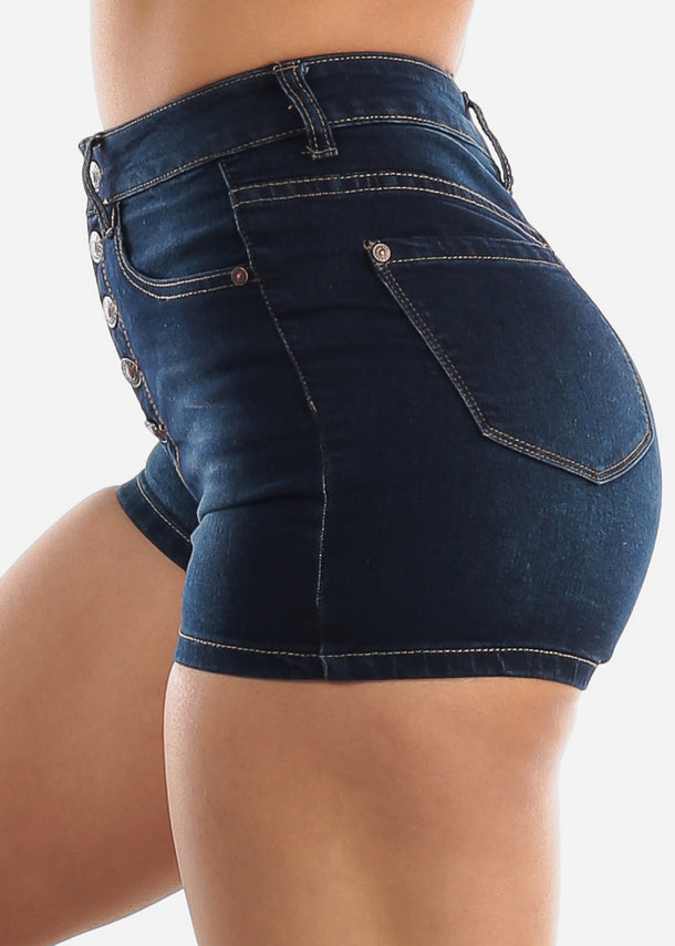 Dark Wash Button Up Denim Shorts