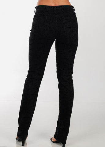Image of Printed Black Straight Leg Pants