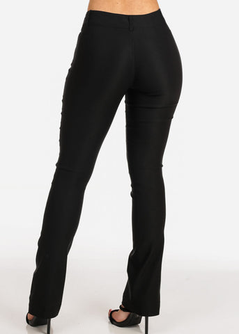 Women's Junior Ladies Sexy Stretchy Office Business Career Wear Solid Black 2 Button Straight Leg Dressy Pants