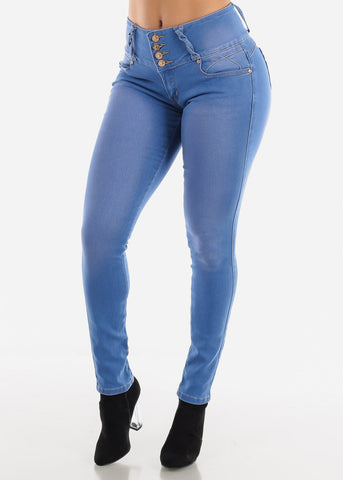 Med Light Blue Wash Wide Waist Band Jeans