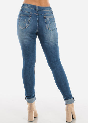 Image of Medium Wash Ripped Skinny Jeans