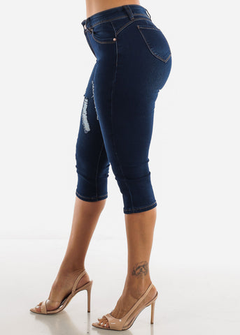 Mid Rise Butt Lifting Dark Blue Capris