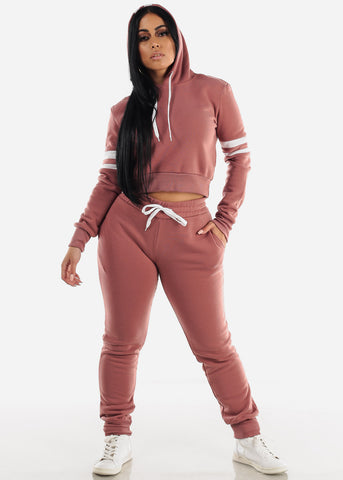 Fleece Brick Hoodie & Jogger Sweatpants (2 PCE SET)