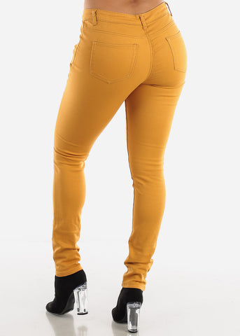 Mustard Classic Mid Rise Pants