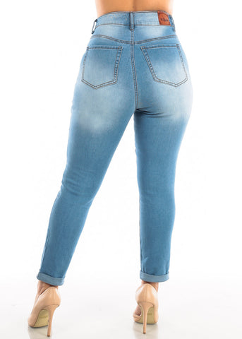 Plus Size Roll Cuff Light Wash Torn Jeans