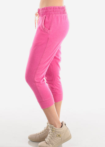 Image of Women's Junior Ladies Casual Lounge Wear Fuchsia High Waisted Jersey Capri Joggers