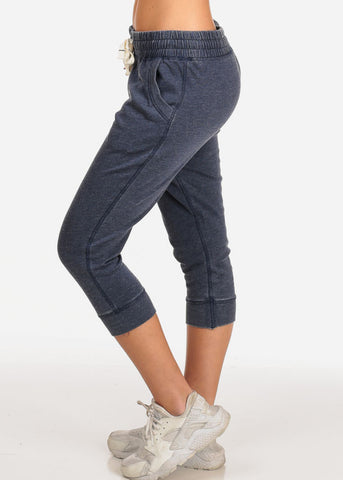 Image of Women's Junior Casual Lounge Wear Navy High Waisted Jersey Capri Joggers
