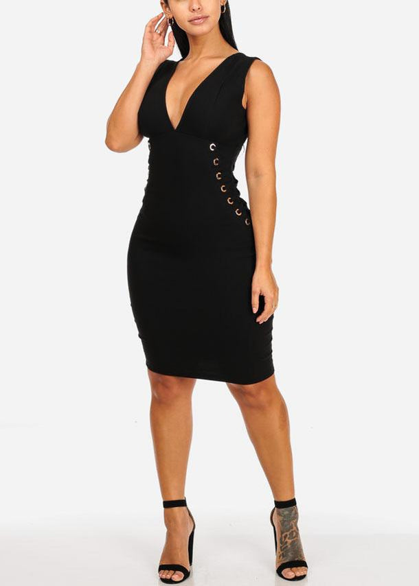 Elegant Black Midi Dress