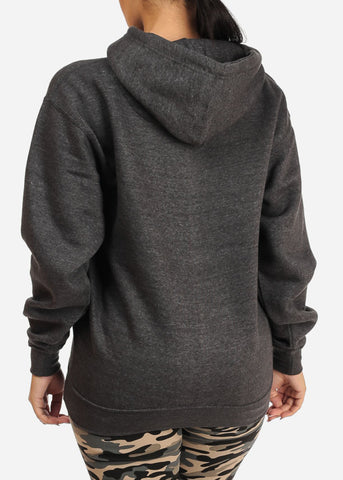 Image of Kangaroo Pocket Charcoal Sweater W Hood