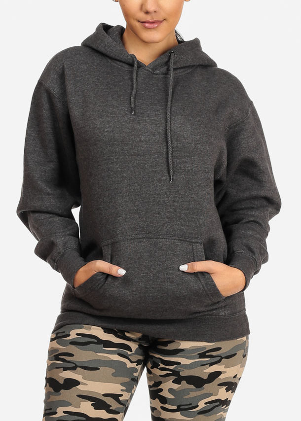 Kangaroo Pocket Charcoal Sweater W Hood