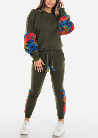 Image of Fuzzy Olive Sweater & Pants (2 PCE SET)