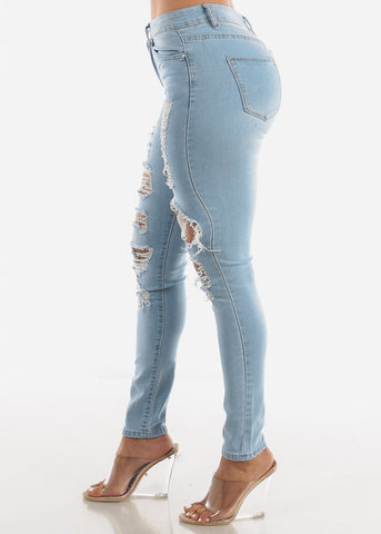 Light Blue Distressed Jeans