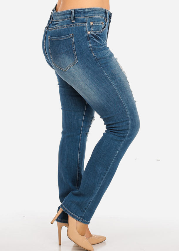 Plus Size Ripped Light Jeans