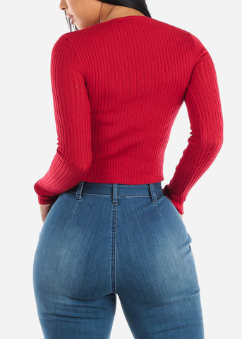 Red V-Neck Ribbed Sweater
