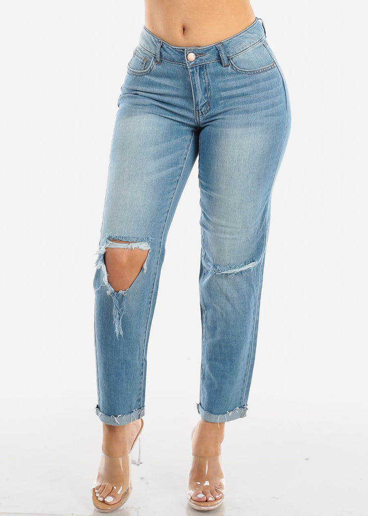 Torn Light Wash Boyfriend Jeans