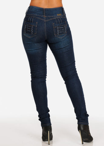 Dark Wash Stiching Ripped Jeans