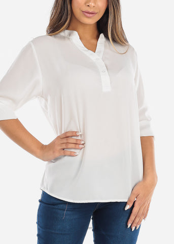 Image of White Two Button Blouse