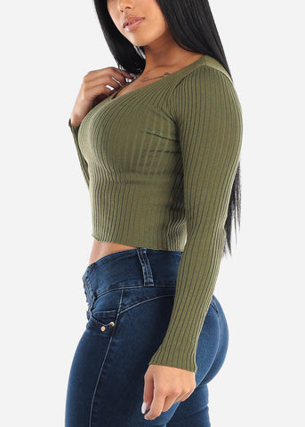 V-Neck Ribbed Sweater Olive
