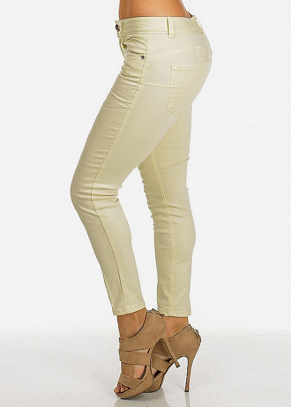Lime Cropped Skinny Pants
