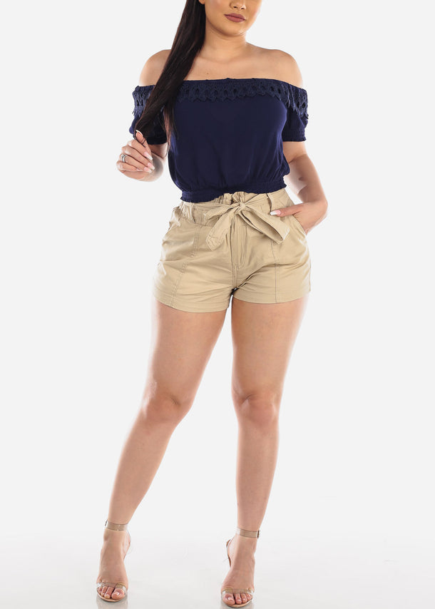 Belted High Rise Khaki Shorts at Discount Prices