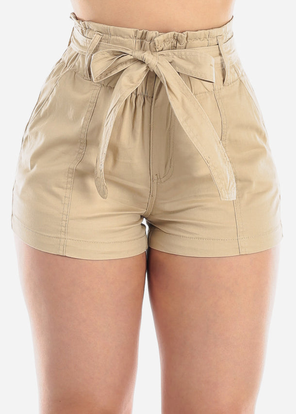 Women's Junior Ladies High Waisted Paperbag Khaki Stretchy Shorts For Summer Vacation Beach 2019 New