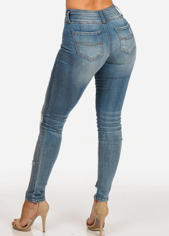 Stylish Trendy Mid Rise Med Wash 3 Button Distressed Butt Lifting Skinny Jeans
