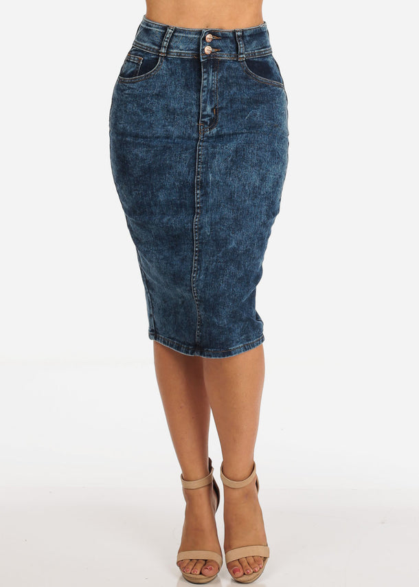 Women's Junior Ladies Sexy High Waisted Acid Wash 2 Button Pencil Denim Skirt