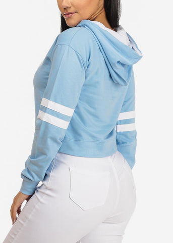 Light Blue Cropped Pullover Sweatshirt W Hood