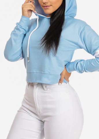 Image of Light Blue Cropped Pullover Sweatshirt W Hood