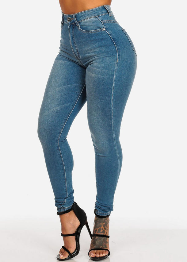 Women's Junior Ladies Ultra High Waisted Light Wash 1 Buton Skinny Jeans