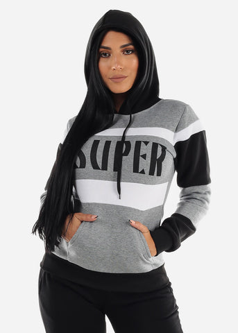 "Image of Grey Colorblock Pullover Hoodie ""Super"""