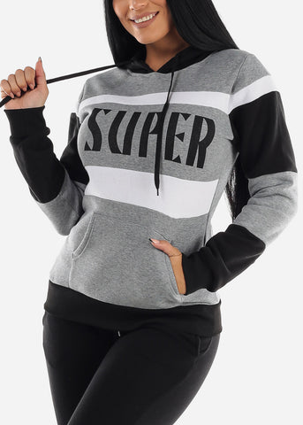 "Grey Colorblock Pullover Hoodie ""Super"""