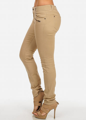 Mid-Rise One-Button Skinny Twill Pants (Khaki)