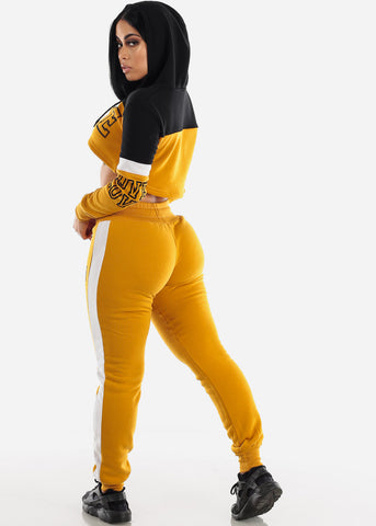 "Image of Mustard Cropped Hoodie & Jogger Sweatpants ""Love"" (2 PCE SET)"