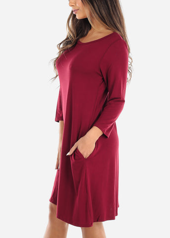 Image of Red Swing Dress With Pockets
