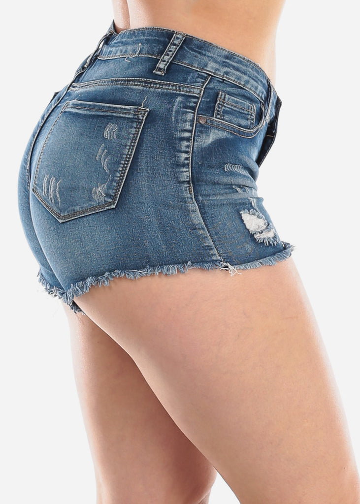 1 Button Mid Rise Whisker Med Wash Distressed Ripped Denim Shorts For Women Ladies Junior