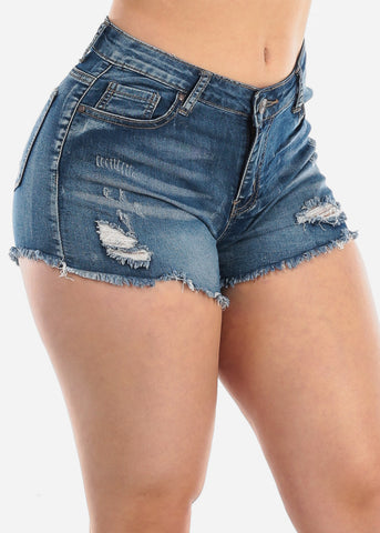Image of 1 Button Mid Rise Whisker Med Wash Distressed Ripped Denim Shorts For Women Ladies Junior